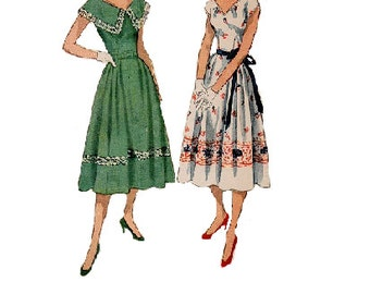 Tea Garden Party Dress 1950s Sewing Pattern Simplicity 3563 Full Pleated Skirt Large Shawl Collar Sleeves Fitted Bodice Bust 32