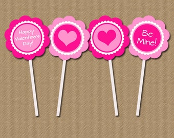 Hot Pink Valentine's Day Cupcake Toppers - DIY Printable 2 inch Party Circles INSTANT DOWNLOAD You Print