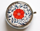 Flowery Pill Box, Pill Case, Case, Pill Container, Floral, Gift for her, gift for mom, Asian, red, blue, round pill case (3974)