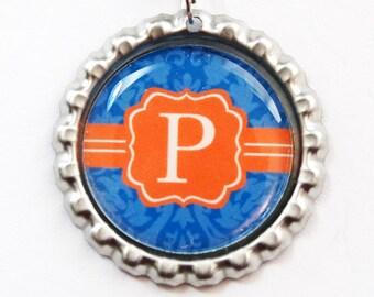 Monogram Bookmark, Damask Monogram, Personalized Bookmark, bookmark, custom bookmark, Blue, Orange, Damask, Monogram,Stocking Stuffer (3329)