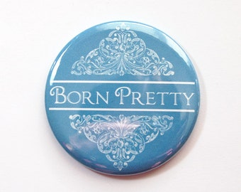 Pocket mirror, Born Pretty, Blue Mirror, mirror, purse mirror, gift for her, mirror for purse (3502)
