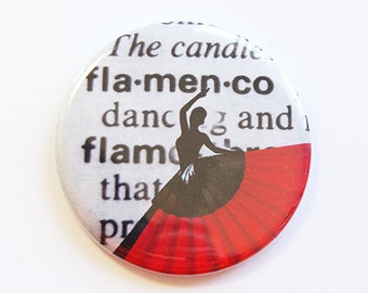 Pocket mirror, Flamenco mirror, purse mirror, gift for her, flamenco dancer, spanish, flamenco, red, black, flamenco lover (4327)