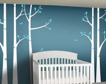 Children Wall Decal - Birch Tree Wall Decals - Woodland Nursery Decor - Bare Tree Wall Decal - Turquoise