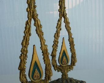 Vintage Judaica brass Oppenheim Shabbat Kodesh Candleholders, made in Israel