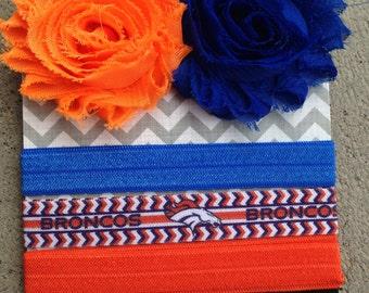 Denver Broncos Headband Hair Clip Set - Interchangeable Headband - No Crease No Pull - Shabby Flower Clips - Football Team - Orange Blue
