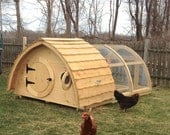 Lightfoot Hobbit Hole Chicken Coop with Attached Run for up to 7 birds; cedar and pine construction, hinged roof, ventilation windows