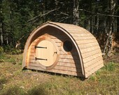 On Sale for 40% Off! Hobbit Hole Playhouse Ready to Deliver with round door and windows, custom cedar roof and siding, all natural wood.