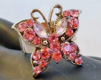 Sparkling Pink Rhinestone Statement Butterfly Adjustible Ring ~ Multi-Faceted ~1960's