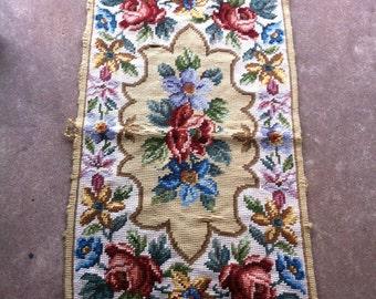 Vintage Handmade Tapestry Wall Hanging Rug Floral 1965
