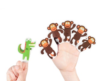 Five Little Monkeys Swinging in the Tree Paper Finger Puppets - PRINTABLE PDF Toy - DIY Craft Kit Paper Toy - Party Favor - Nursery Rhyme