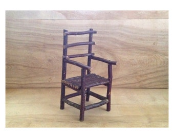 Vintage Miniature Twig Chair - Rustic Cabin Farmhouse Wood