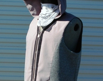 XXL Mens Cyberpunk Hooded Vest Grey Ghost