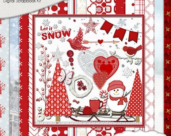 SALE 2.00 Scrapbook Kit! Snow Scrapbook Kit, Red and White Snow Winter Digital Clip Art & Papers Snowman, CoCoa, Sled, Trees