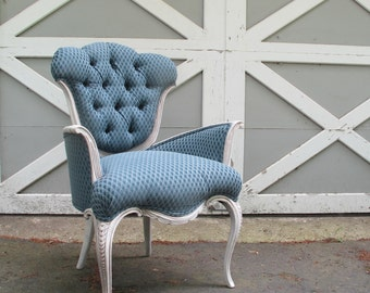 Victorian Louis Chair with Blue Scallop Pattern Jacquard Fabric and White Washed Frame