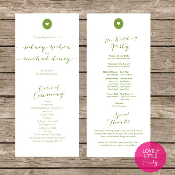 Sidney Collection Wedding Program- DIY Printable - Lovely Little Party - You Choose Color