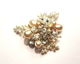The Victorian Bridal Hair Comb, Comb Pearl and Rhinestone Brooch, Bridal Brooch, Bridal Hair Comb, Bridal HairComb, Champagne hair comb