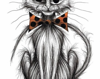 Bernard the cat Print download Kitty with long curved tail one eye half closed and wearing a comedy spotty bow tie Amusing animal picture