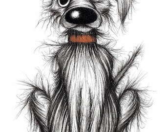 Mr Horrible Print download Scruffy naughty smelly pet dog with sticking up ear who's fairly nasty and badly behaved