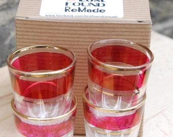 Vintage red and gold shot glasses x 4