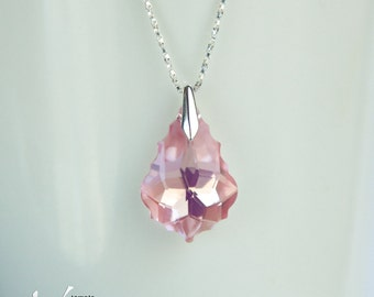 Pink baroque Swarovski pendant and necklace, sterling silver, Aurora Borealis effect delicate dainty necklace, soft pink
