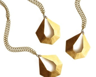 TEREZ || Statement Necklace || Gold Brass Metal || Geometric Pendant || Bib Necklace || Long Necklace || Contemporary || Art Deco ||