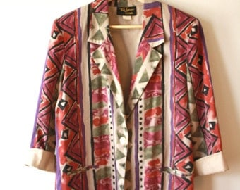 80s Abstract Blazer Multicolor Oversized Womens