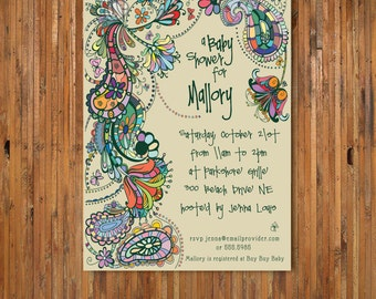 Paisley Baby Shower Invitation - Gender Neutral Baby shower invitation - item 0087