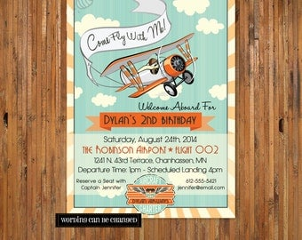 Airplane Birthday Invitation - Come Fly With Me - 2nd, 3rd, 4th, 5th, 6th, 7th, 8th, 9th birthday for boys - Item 0138 - DIGITAL FILES