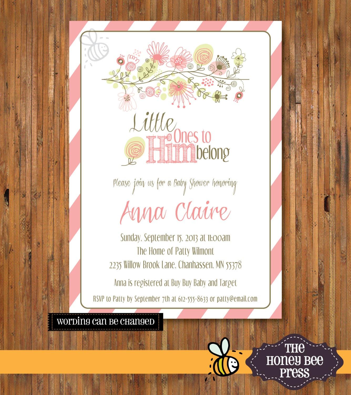 Christian Baby Shower Invitation For Baby Girl Little Ones