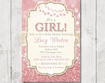 Pink and Gold Baby Shower Invitation - Gold Baby Shower ...