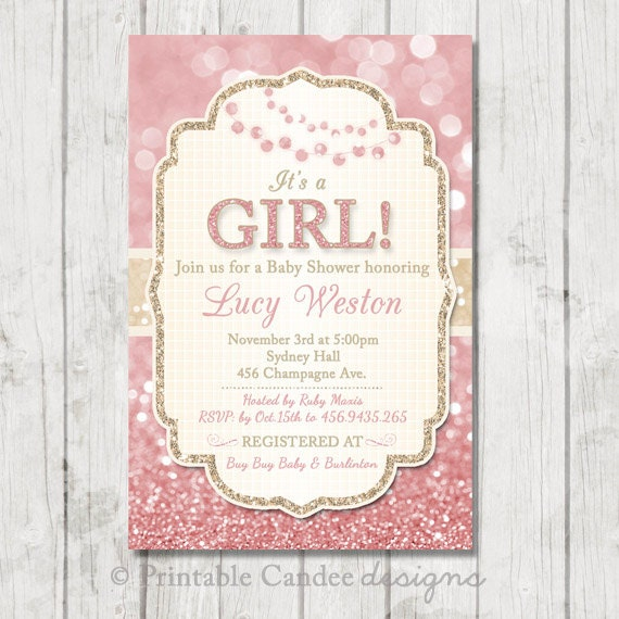 pink and gold baby shower invitation gold baby by printablecandee