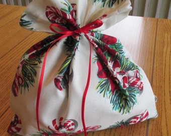 Vintage Candy Canes fabric gift bag, Little.  Reusable.