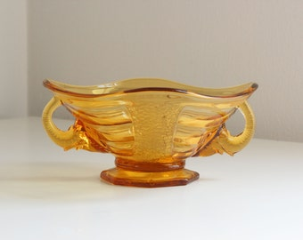 Sowerby Elephant Handled Depression Ware Dish in Amber Glass