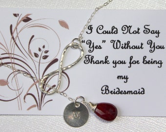 Bridesmaid Initial Disc Stamped Necklace. Infinity Circle and Birthstone. Ruby Sterling Silver Lariat. Y necklace.  Personalized