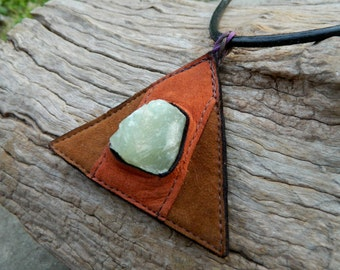 Green Calcite Pendant Necklace Triangle Necklace Recycled Leather Jewlery Healing Jewelry by Ariom Designs