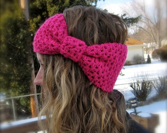 2 PATTERNS: Bow Ear Warmer & Bobble Band, head band, giant bow, easy crochet pattern, ski, pdf, InStaNT DowNLoaD, Permission to Sell