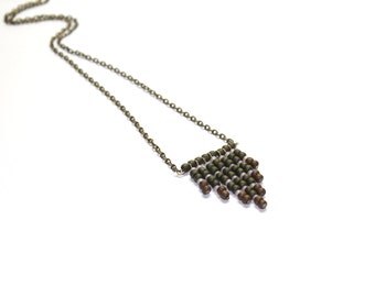 Beaded chevron necklace in moss green, bronze and champagne color, with antique brass chain and findings