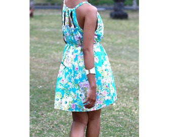 Floral Dress, Turquoise mini dress, casual short dress, beach dress, summer dress, bathing suit cover up, spring / summer fashion
