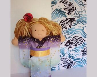 "15"" Doll kimono for a Waldorf inspired dolls, doll dress,  Japanese fabric kimono,japanese cotton yukata kimono doll,  japanese doll yukata"