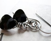 Jet Black Crystal Earrings / Sterling Silver Dangle Earrings / SimplyJoli / Simple Elegance