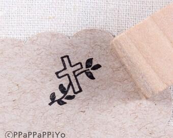 mini cross Small Rubber Stamp