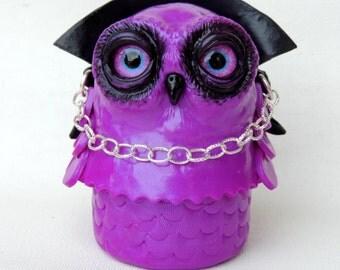 Dracula owl box in polymer clay