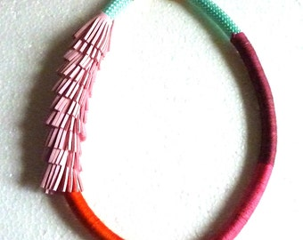 OMBRE wrapped rope necklace and pink SUEDE FRINGES. mint rope. cotton strings. summer necklace. high fashion. avant garde. colorful
