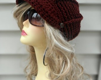 Crochet Newsboy Hat Womens Brim Hat Hair Accessories Crochet Accessories Winter hat for Women Fashion Accessories Girls Brim Hat