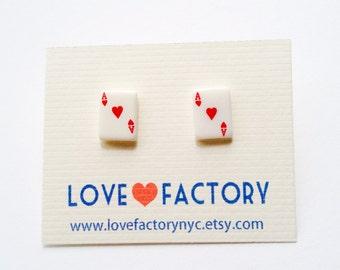 Alice in wonderland tramp Heart Ace stud earrings-kawaii post earrings-heart earrings-miniature earrings-kitschy earrings-love factory ny