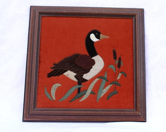Goose and Grasses Quilted Patchwork, square wood frame, vintage 1970s