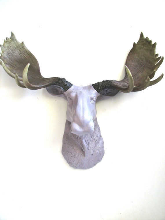 Faux taxidermy moose head wall hanging wall mount home decor - Fake moose head mount ...