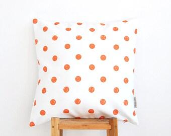 """Polka Dots Kids Pillow, Geometric Decorative Pillow, Modern Nursery Pillow, Teen Pillow, Throw Pillow, Orange 16"""" x 16"""""""