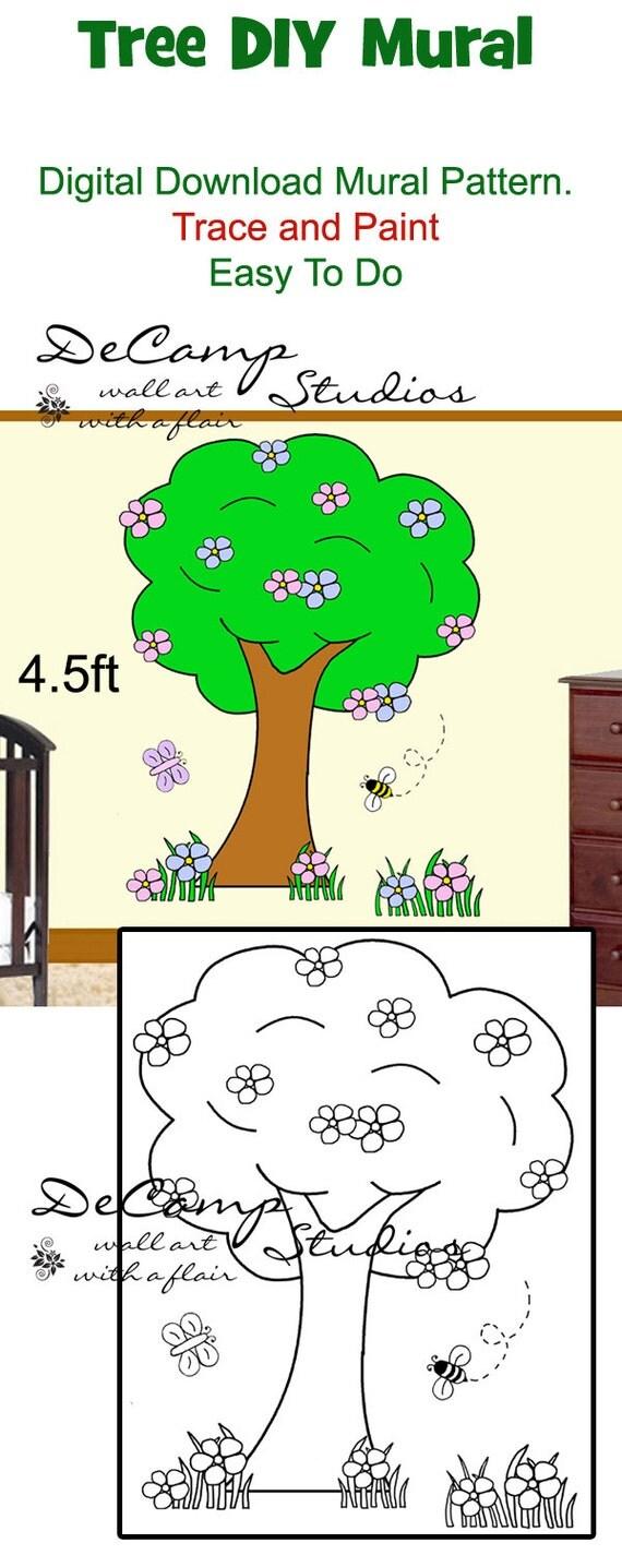 Diy tree mural wall pattern printable digital download trace for Diy tree wall mural