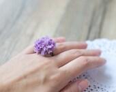 Flower ring - lilac flower ring - floral ring - ring flower - flower jewelry - floral jewelry - clay flower - lavender - blossom ring